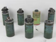 Seven inert British smoke grenades.
