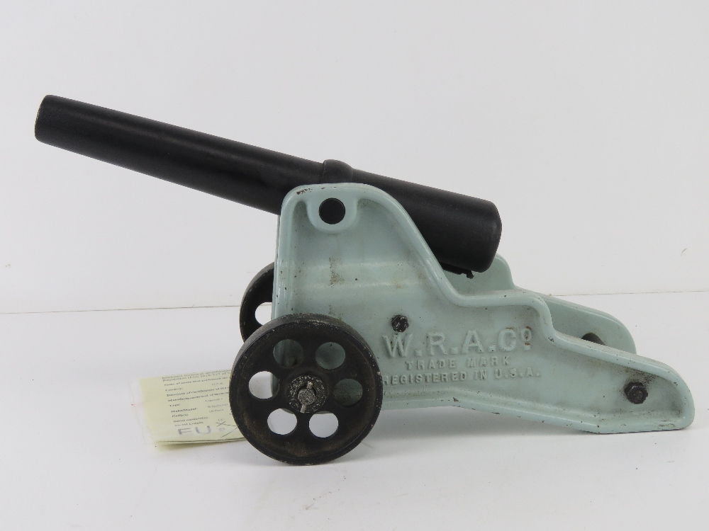 A deactivated Winchester 10 bore signal cannon W.R.A.Co, trademark registered in USA.