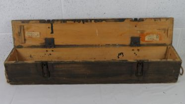 A separately loaded 10cm WWII German shell transit wooden box, one carry straps a/f.