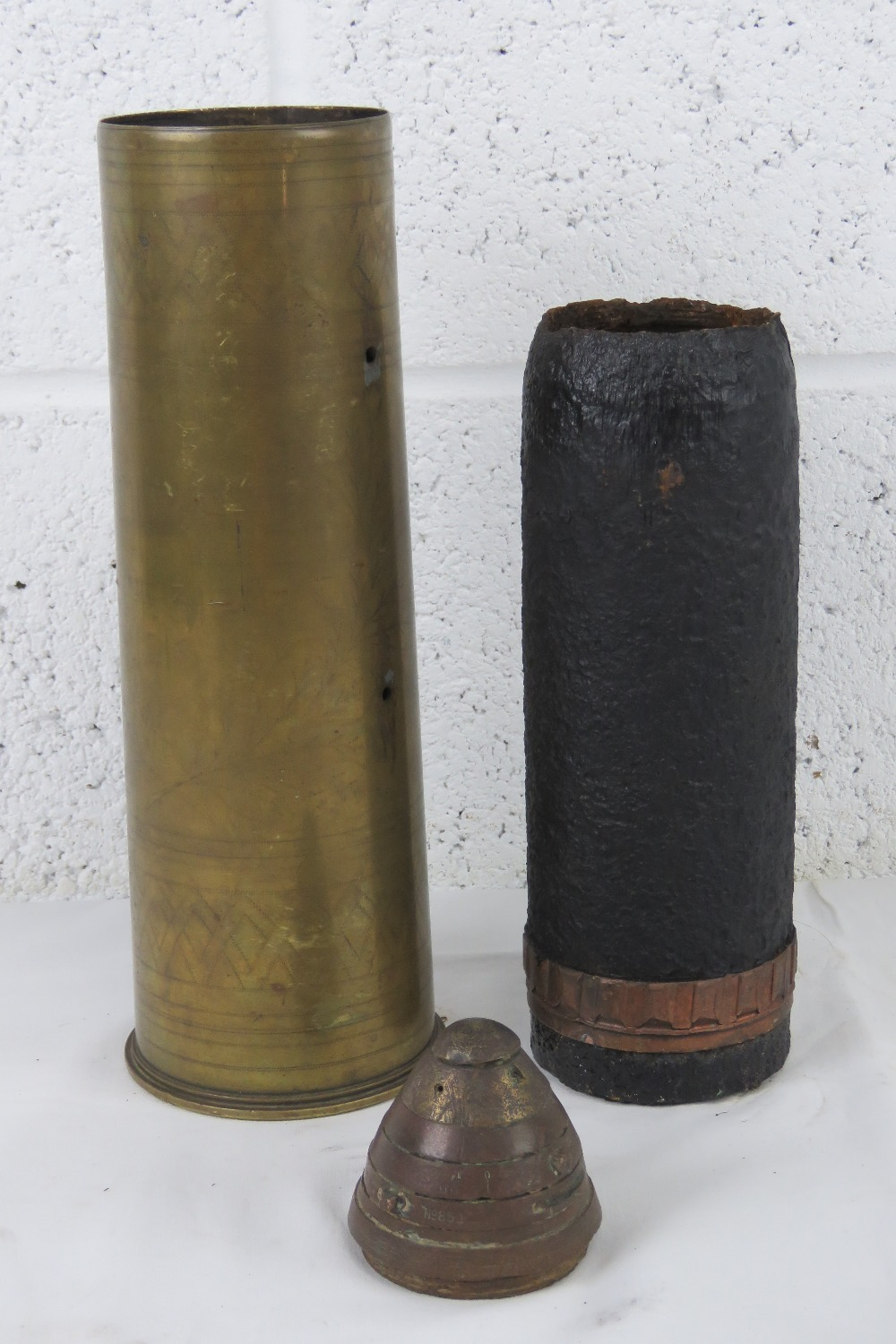 A Canadian 18pr trench art shell dated 1915, with head and fuse. - Image 2 of 6