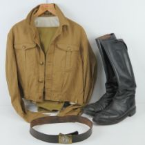 A pair of WWII German SA black leather boots together with SA brown shirt, breeches,
