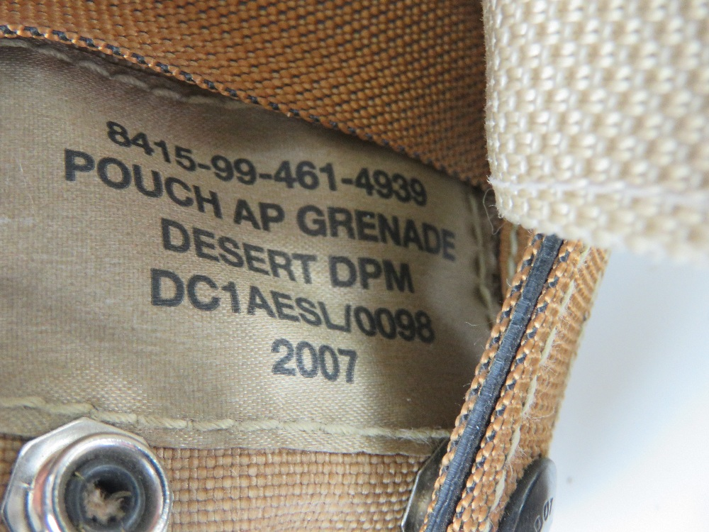 A British Military desert webbing belt with three pouches and water bottle, - Image 2 of 4