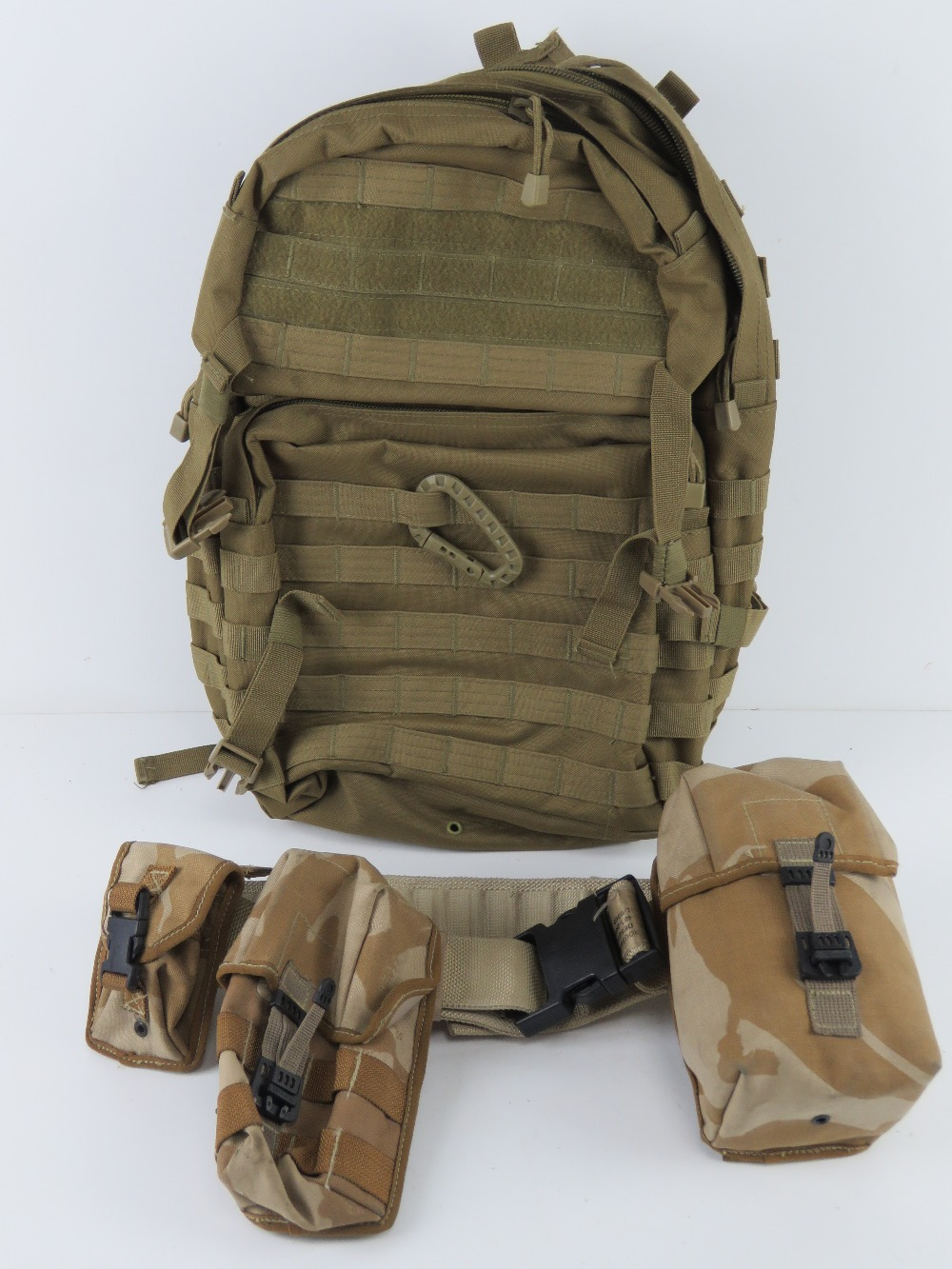 A British Military desert webbing belt with three pouches and water bottle,