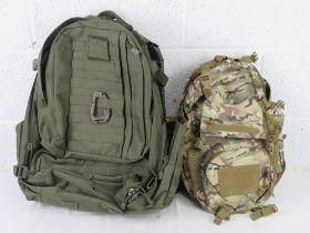 An MTP Kombat tactical patrol pack, also a large Kombat tactical patrol pack.
