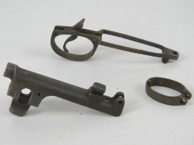 A SMLE metalwork set, including the nose, barrel band and trigger guard.