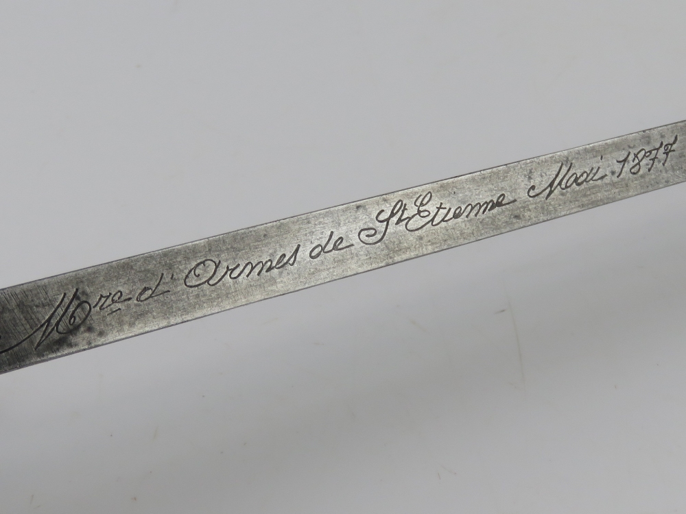 A French 1874 pattern Gras bayonet engraved and dated St Etienne... - Image 2 of 5