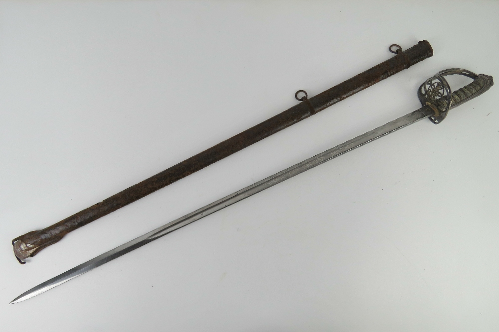 A Victorian British 1896 heavy Cavalry sword having VR cypher to hilt, shagreen grip, - Image 2 of 7