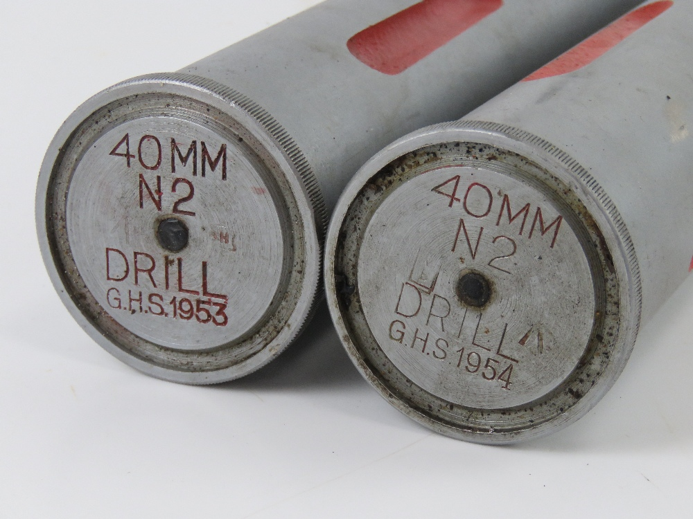 Two 40MM Bofors training round, No.2 drill, dated 1954. - Image 2 of 3