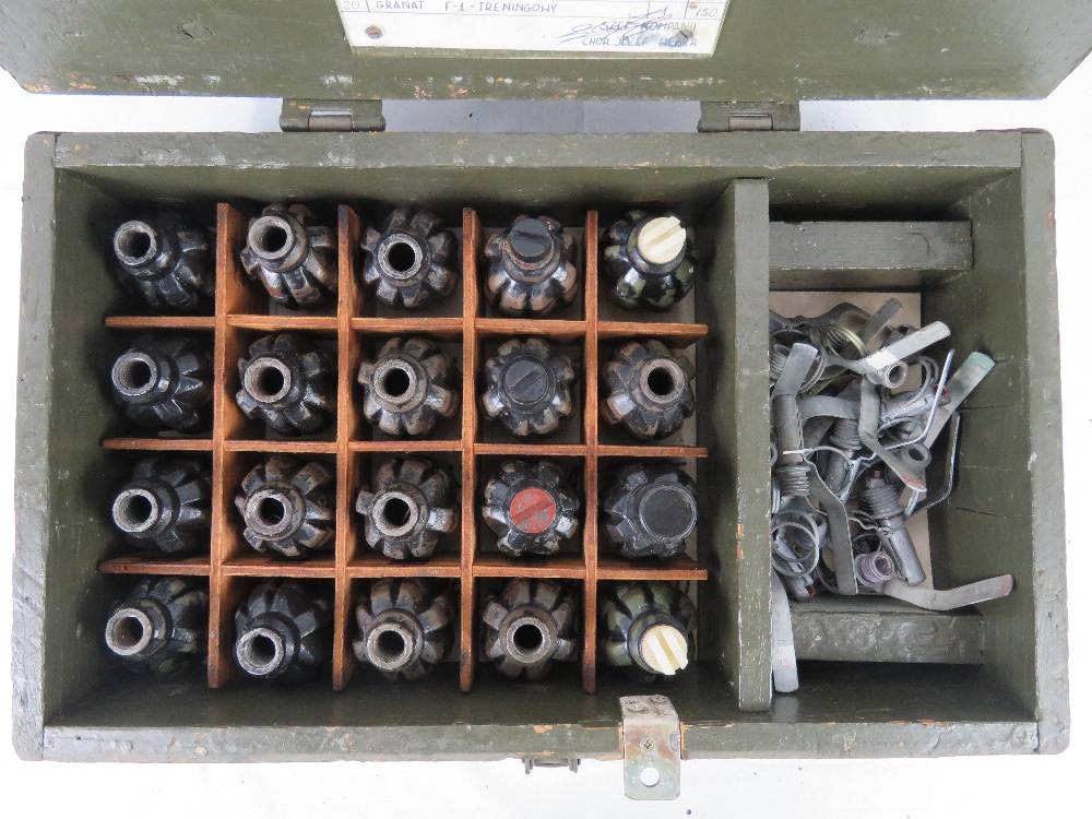A box containing a quantity of twenty inert F1 Limonka grenades with pins and fuses. - Image 2 of 7