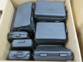 A large quantity of small peli transit cases with foam. Approx 16.5 x 10.5cm.