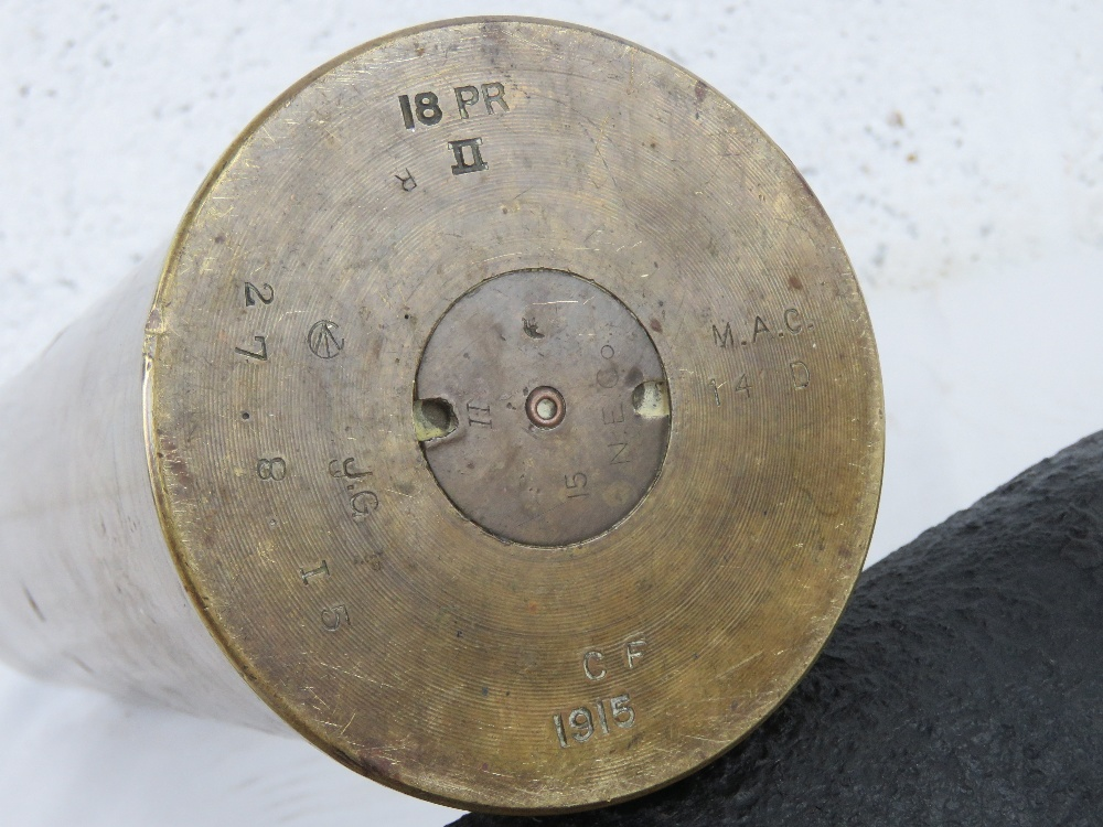 A Canadian 18pr trench art shell dated 1915, with head and fuse. - Image 4 of 6
