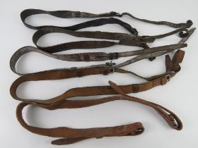 A quantity of five WWII PPSH41 leather slings.