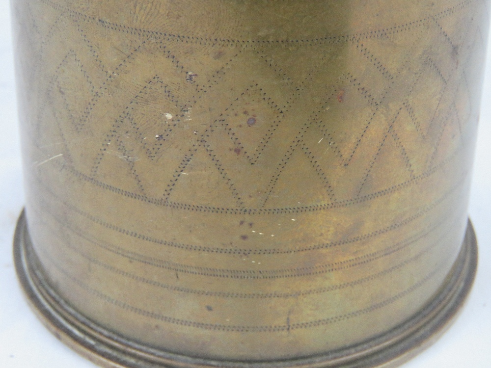 A Canadian 18pr trench art shell dated 1915, with head and fuse. - Image 6 of 6