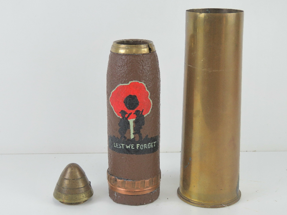 A WWI Canadian HE explosive 18pr dated 1916, the head bearing 'Lest we Forget' poppy trench art. - Image 2 of 4