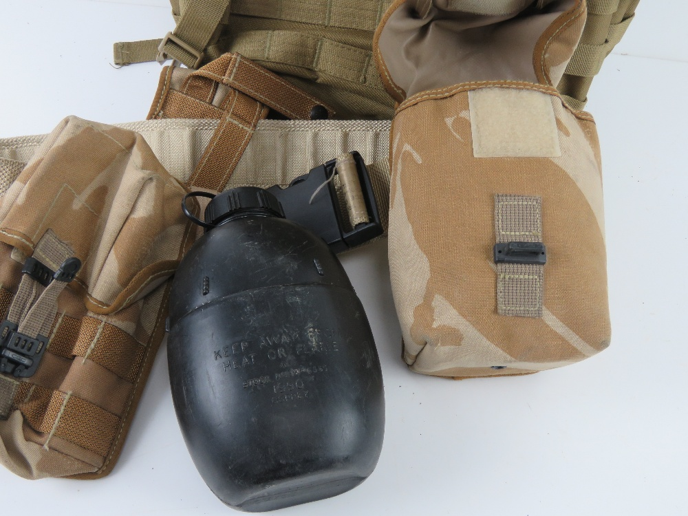 A British Military desert webbing belt with three pouches and water bottle, - Image 3 of 4