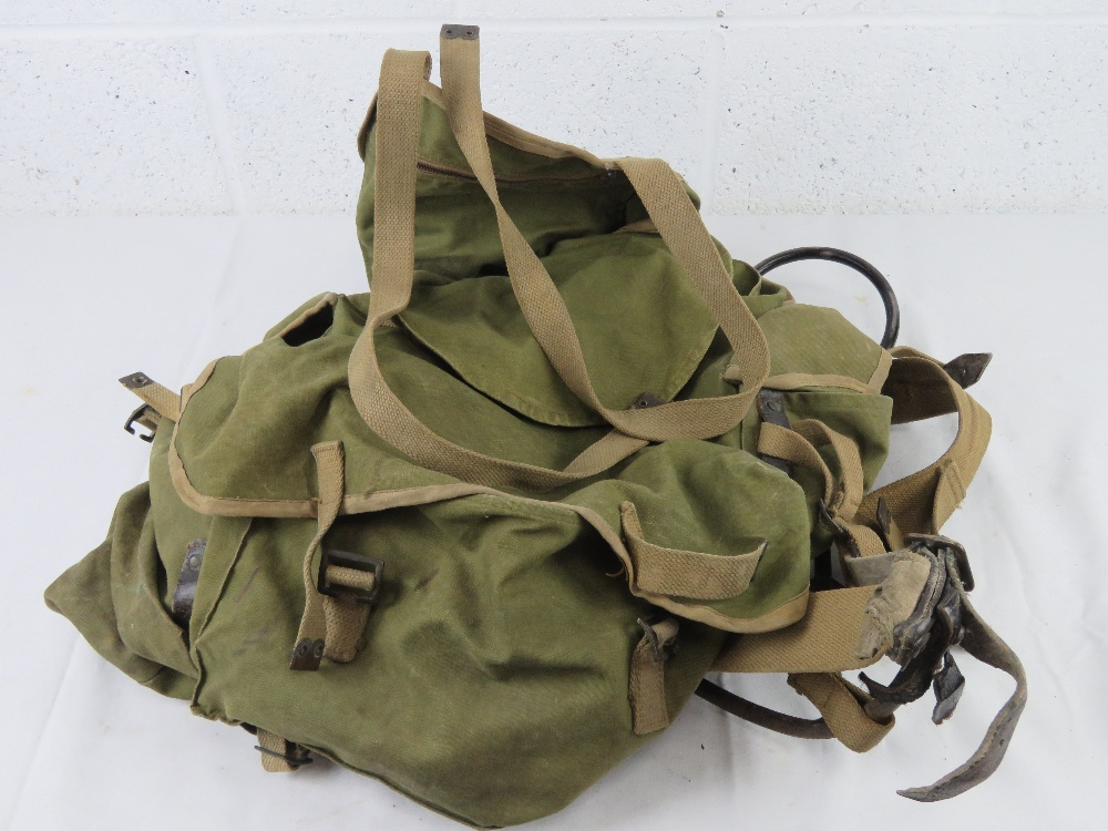 A WWII British back pack and frame.