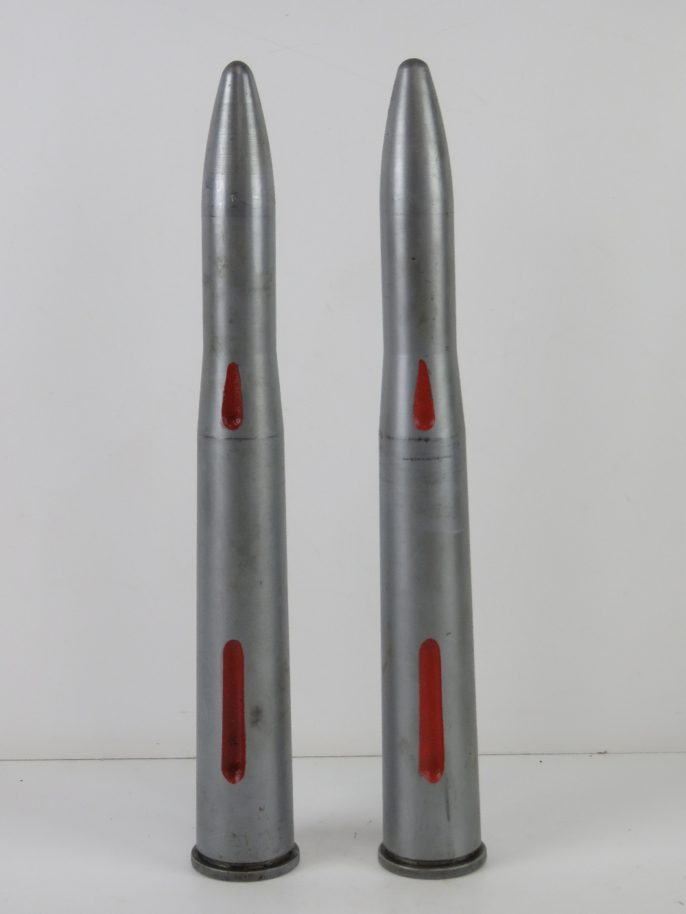 Two 40MM Bofors training round, No.2 drill, dated 1954.