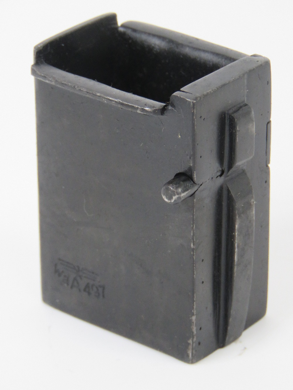 A German WWII MP40 magazine adapter to convert PPSH 41 Russian SMG to accept MP40 Magazines.