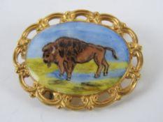 The Royal Antediluvian Order of Buffaloes (RAOB); a HM silver and enamel brooch having buffalo upon,