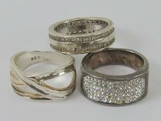 Three silver rings sizes M-N, each stamped 925.