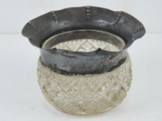 An HM silver rimmed cut glass pot, silver a/f, hallmarked for Chester, standing 8cm high,