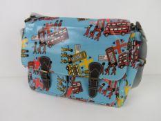 A London themed light blue satchel type