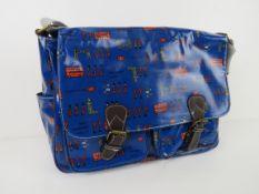 A London themed dark blue satchel type h