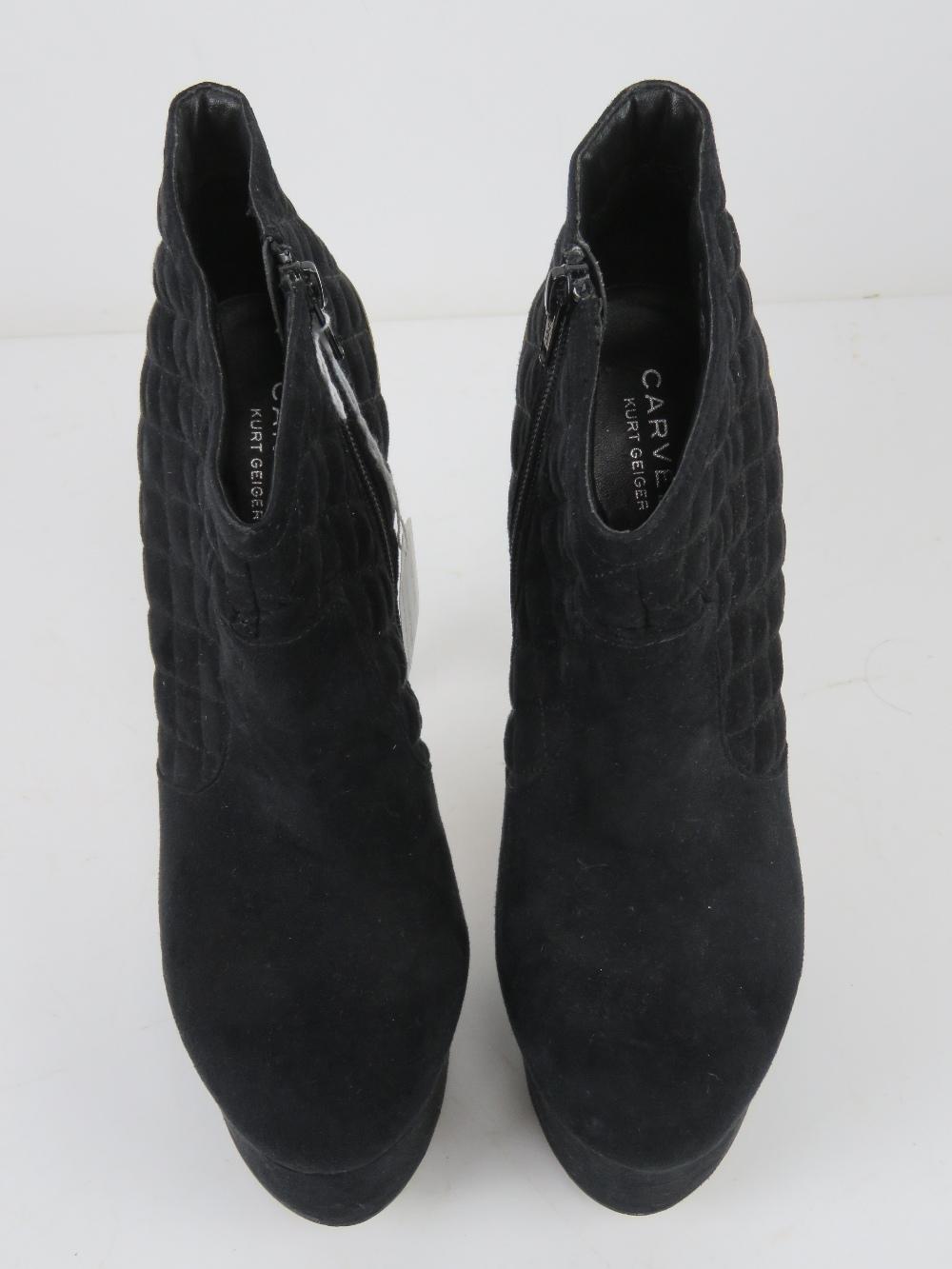 A pair of black velvet platform ankle bo - Image 2 of 5