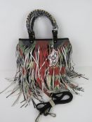 A fringed tote bag 'as new' approx 32 x
