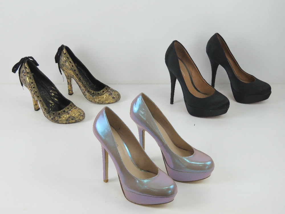 Three pairs of ladies heeled shoes inc b