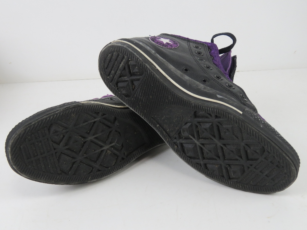 A pair of black leather Converse All Sta - Image 2 of 5