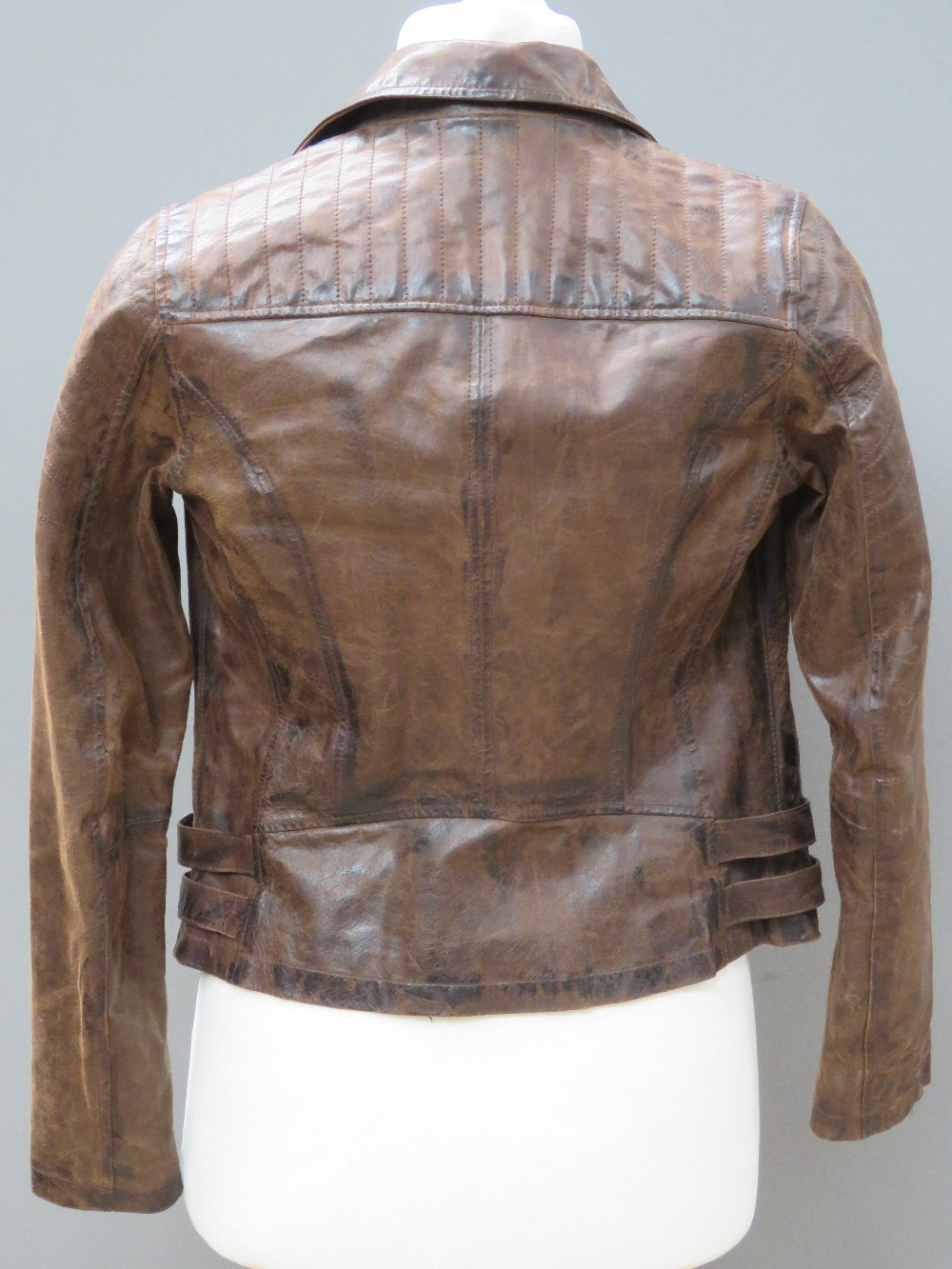 A brown leather biker style jacket by Ne - Image 2 of 4