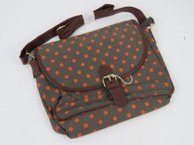 A orange polka dot fabric handbag 'as ne