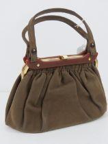 A vintage suede and celluloid handbag, n