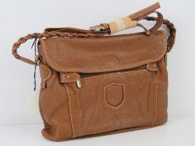An Italian made tan leather handbag 'as