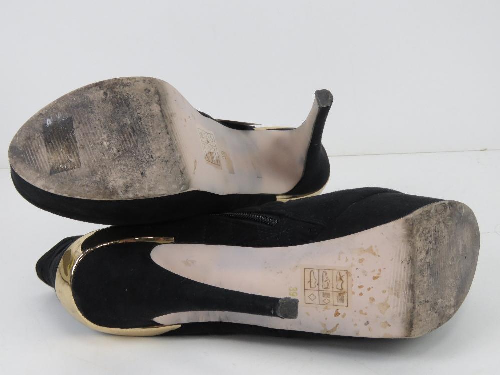 A pair of black velvet platform ankle bo - Image 4 of 5
