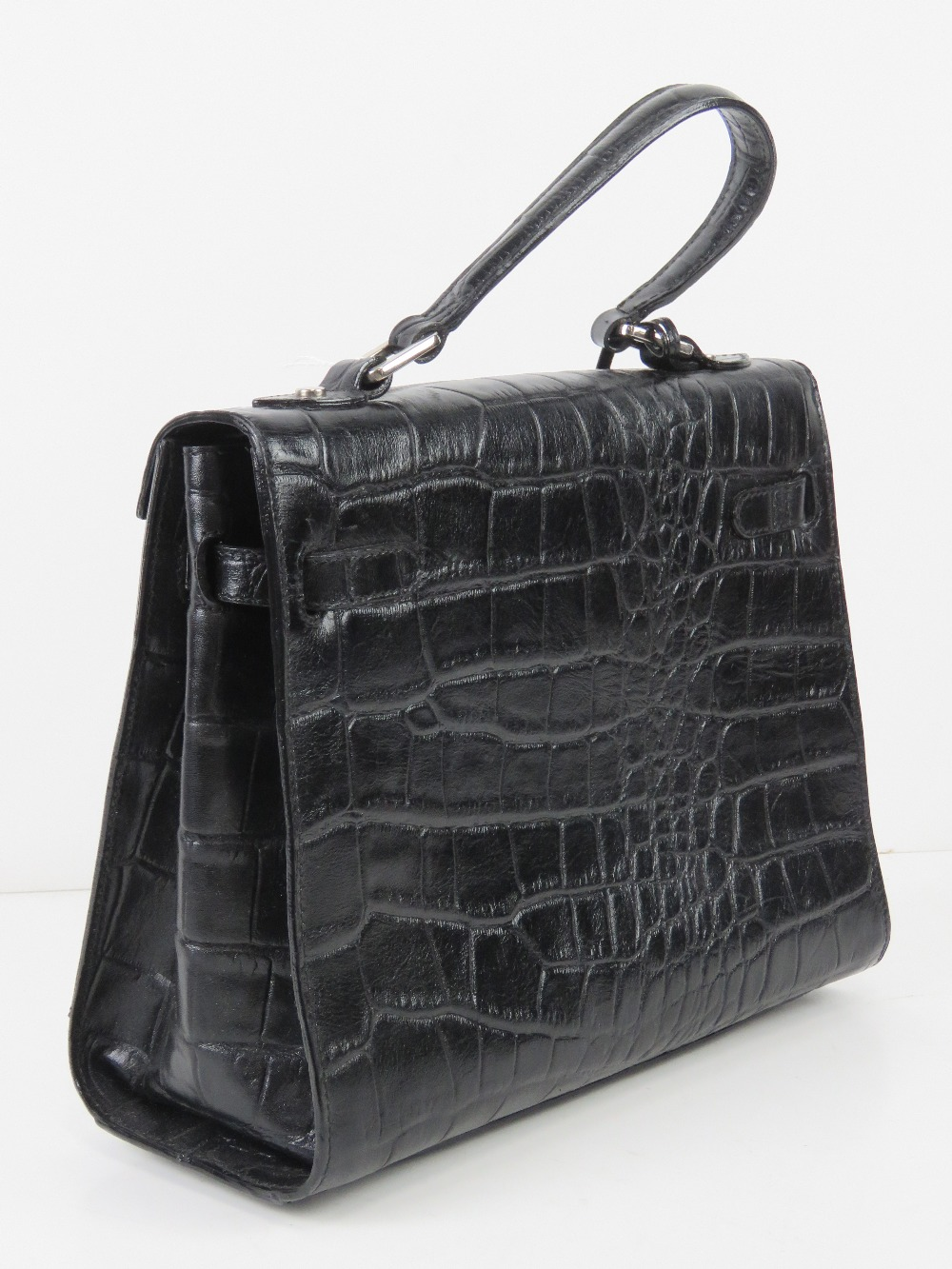 A black faux crocodile skin handbag havi - Image 2 of 4