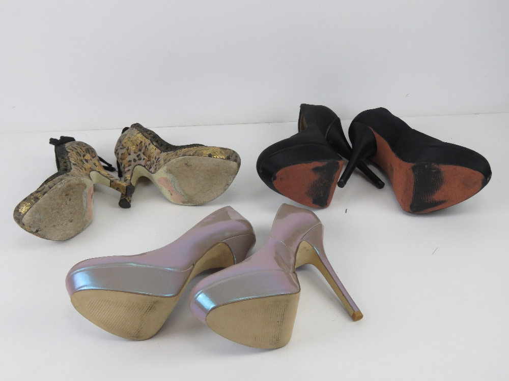 Three pairs of ladies heeled shoes inc b - Image 4 of 5