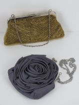 Two ladies evening bags one beaded gold