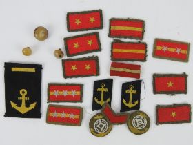 A quantity of assorted WWII Japanese cloth insignia rank badges and buttons inc senior,