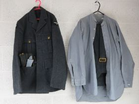 RAF No1 dress tunic, trousers, side cap with badge upon and belt.