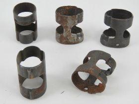 Five WWII German K98 barrel bands.