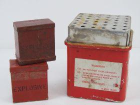 A British Mills detonator box with two fuse pots.