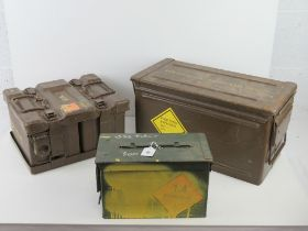 A quantity of British Military ammo boxes including; a large ammo tin, a British 4 x 7.
