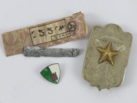 Japanese WWII time expired Soldier's League Member's badge within box.