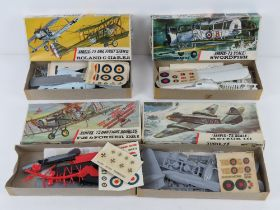 Four vintage Airfix-72 scale model aeroplanes, three from Series 2 being Meteor III,