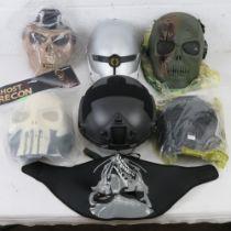 A quantity of assorted Airsoft helmets and masks etc, including a Black Hawk tactical helmet,