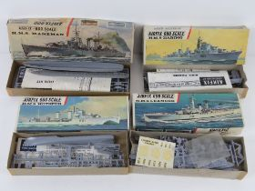 Four vintage Airfix-600 scale model ships inc three from Series 1 being HMS Leander,