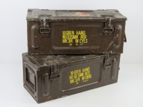 Two British Military ammo tins, with original stencilling,