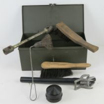 A British Military Landrover kit box containing brushes, tyre spanner etc.
